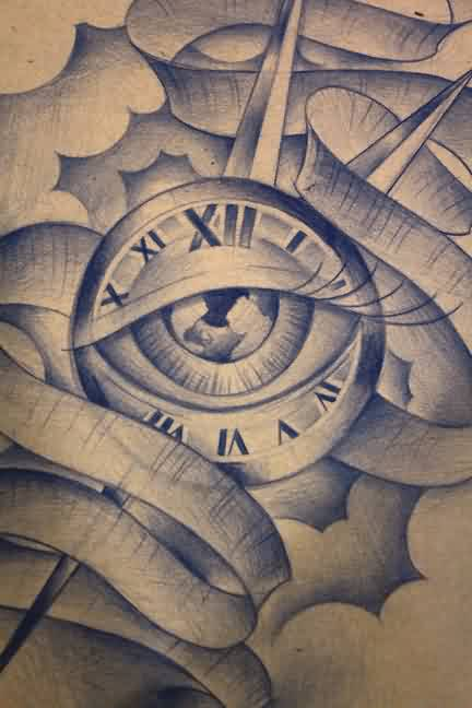 Clouds And Clock Eye Tattoos Sketch