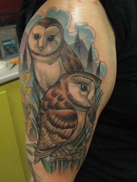 Clouds And Owl Tattoos On Half Sleeve
