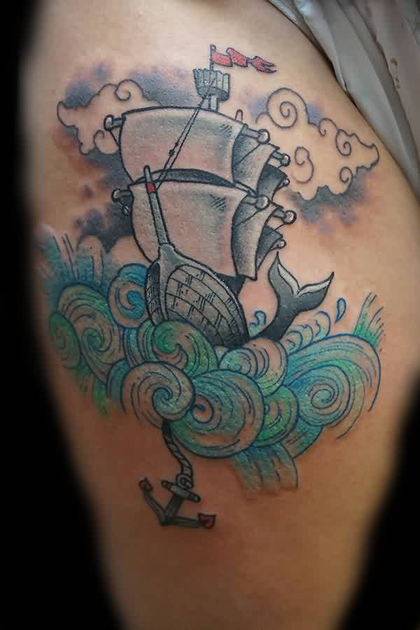 Clouds Ship And Waves Tattoos On Thigh