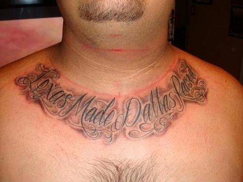 Collarbone Lettering Tattoo Style For Men