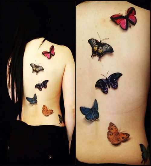 Color 3D Butterflies Tattoos On The Back