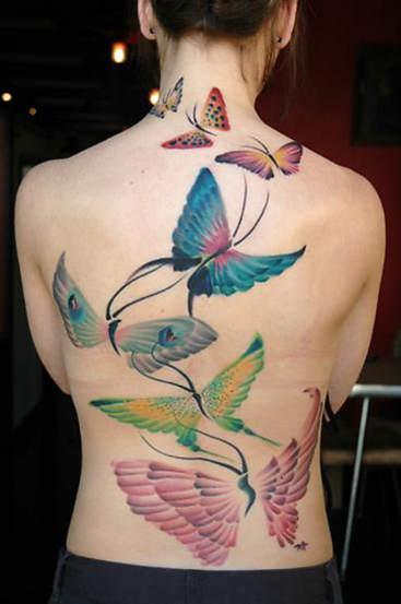 Color 3D Butterflies Tattoos On Topless Back