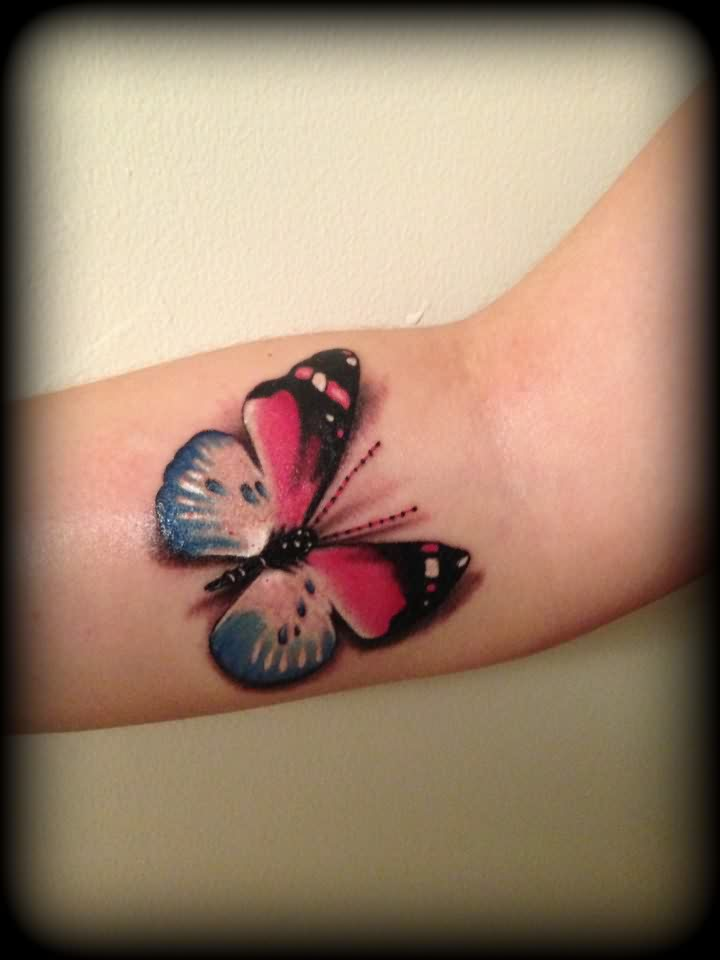 Color 3D Butterfly Tattoo For Girls