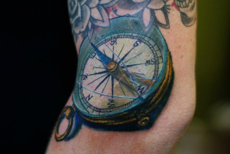Color 3D Compass Tattoo On Elbow
