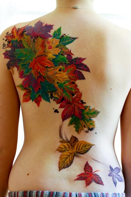 Color 3D Fall Leafs Tattoos On Topless Back
