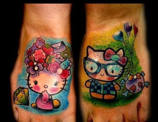 Color 3D Hello Kitty Tattoos On Feet
