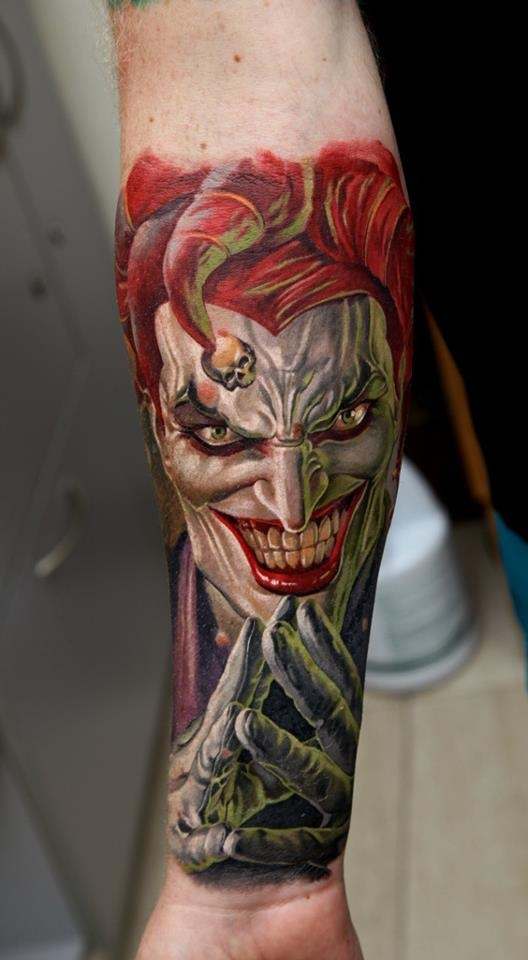 Color 3D Insane Joker Tattoo On Forearm