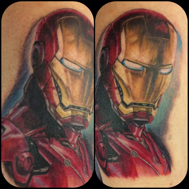 Color 3D Ironman Tattoos