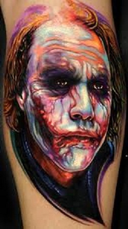 Color 3D Joker Face Tattoo
