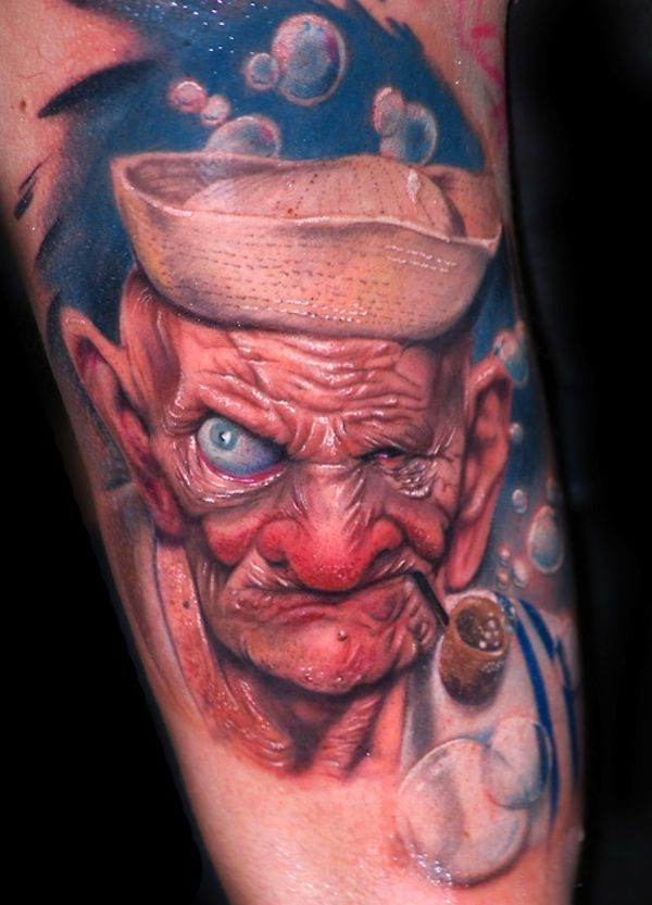 Color 3D Old Man Smoking Pipe Tattoo