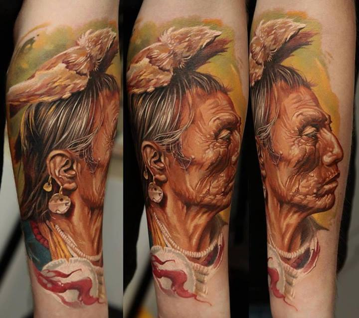 Color 3D Old Woman Portrait Tattoos