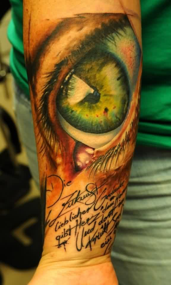 Color 3D Open Eye Tattoo On Arm