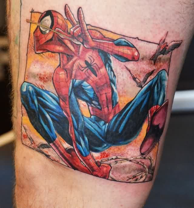 Color 3D Spiderman Tattoo