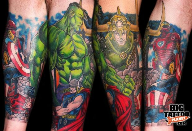Color 3D Superheroes Tattoos