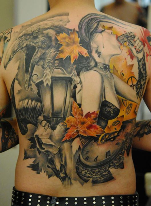 Color 3D Tattoos On Whole Back