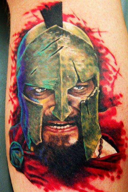Color 3D Warrior Head Portrait Tattoo