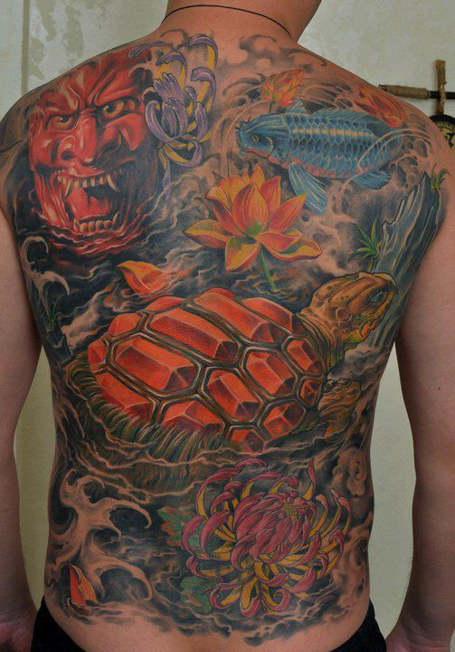 Color Asian 3D Tattoos On Whole Back