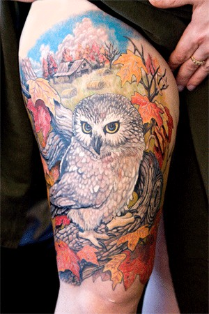 Color Barn Owl Tattoo On Full Thigh