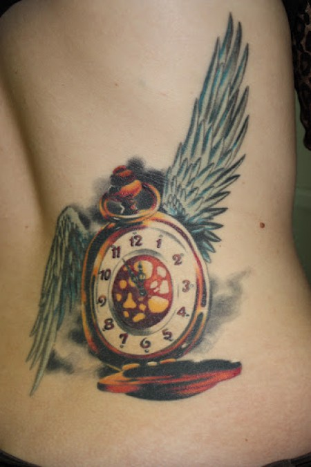 Color Clock With Wings Tattoo On Waist
