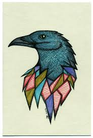 Color Crow Head Tattoo Print