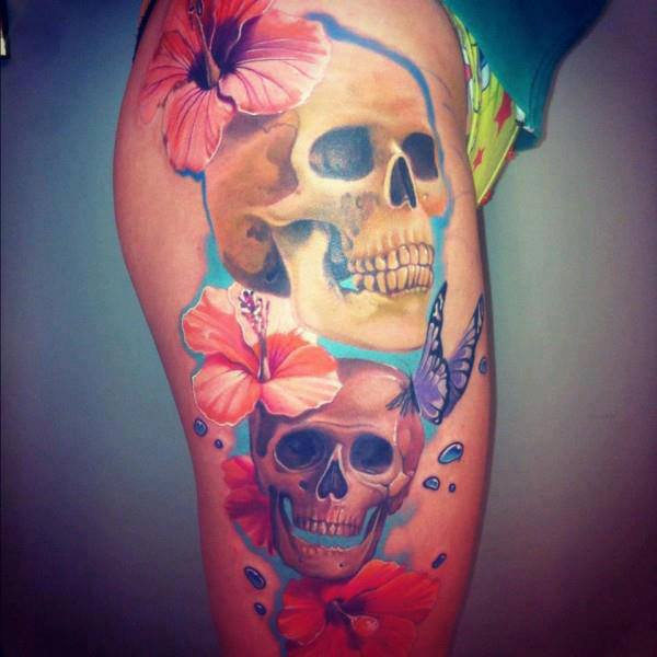 Color Flowers And Skull 3D Tattoos