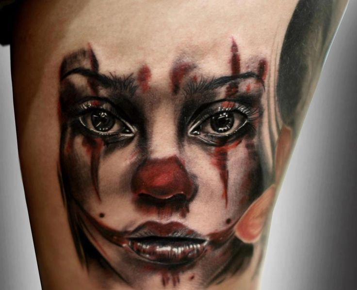 Color Girl Face Portrait 3D Tattoo