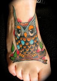 Color Horned Owl Tattoo On Foot