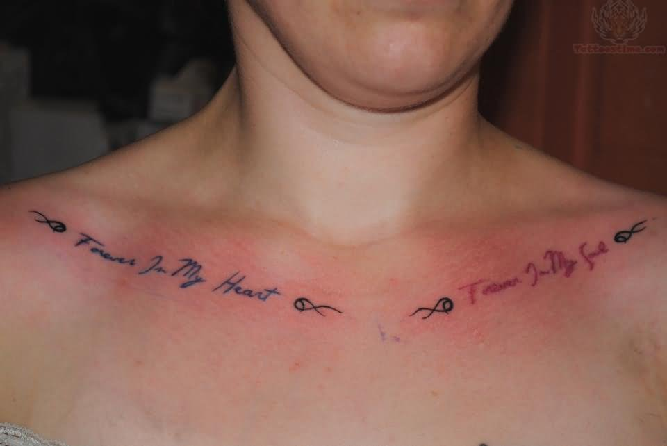Color Ink Lettering Tattoos On Collarbones