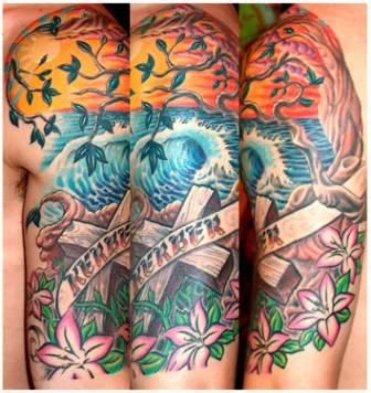 Color Ocean  Wave Sunset Tattoos On Half Sleeve