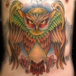 Color Open Wings Owl Tattoo