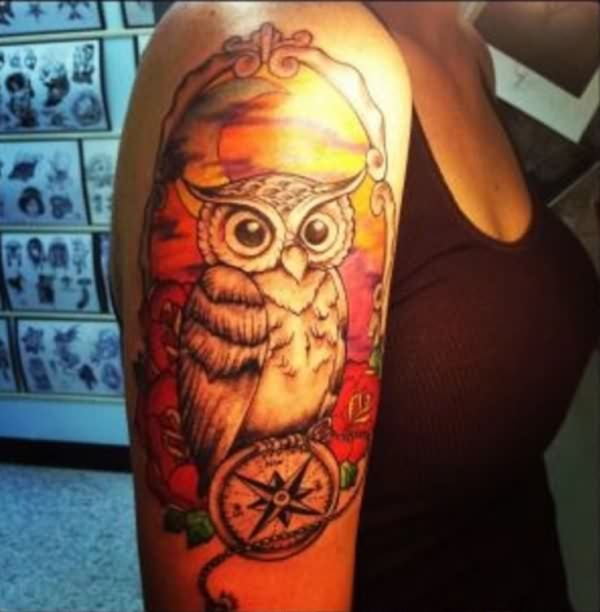 Color Owl And Compass Tattoos On Half Sleeve