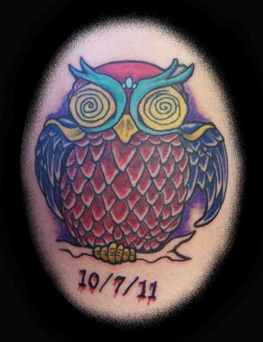 Color Owl And Date Tattoos