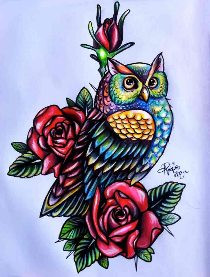 Color Owl And Red Roses Tattoos Design