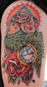 Color Owl Clock And Rose Tattoos On Half Sleeve