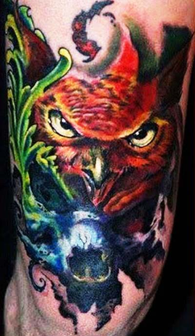 Color Owl Face Tattoo On Arm
