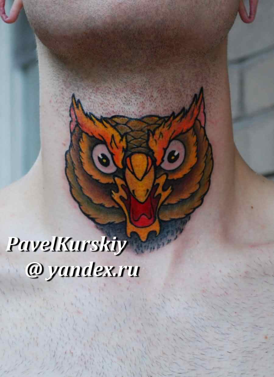 Color Owl Face Tattoo On Throat