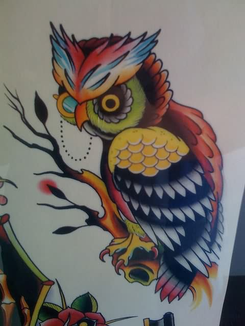 Color Owl On Branch Tattoo Design