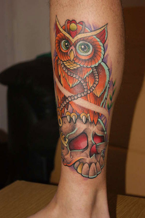 Color Owl On Skull Tattoo