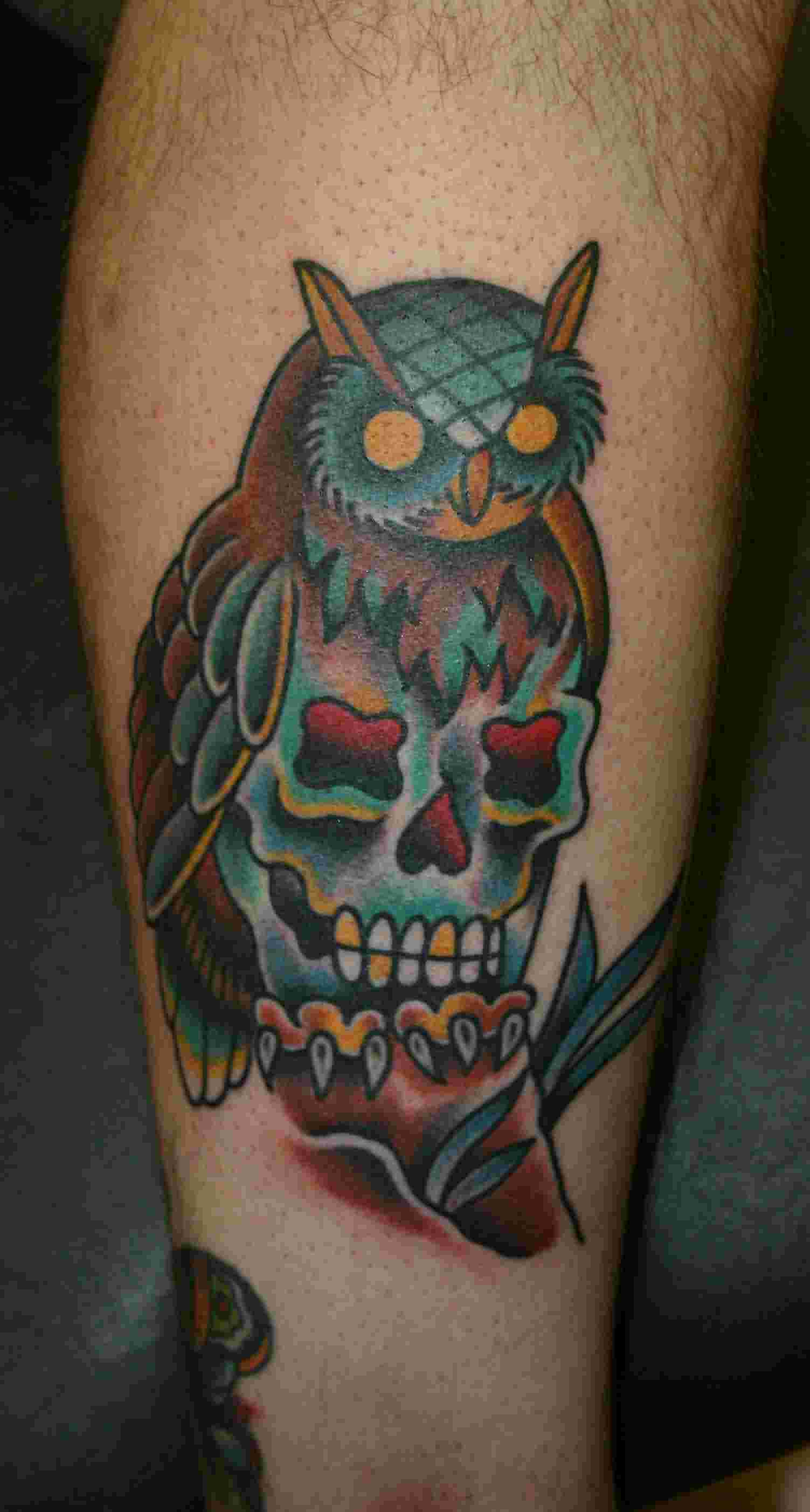 Color Owl Skull Tattoo