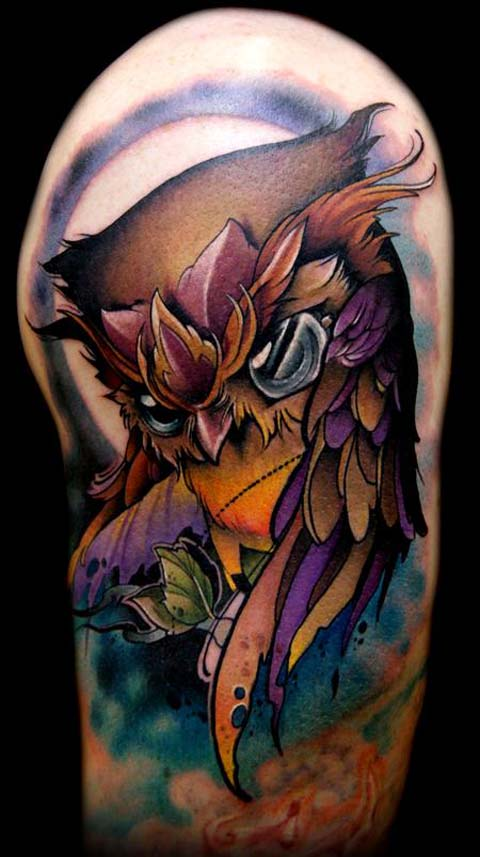 Color Owl Tattoo On Half Sleeve