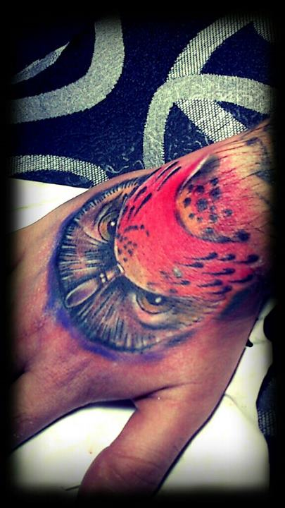Color Owl Tattoo On Hand