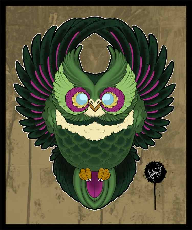 Color Owl Tattoo Poster