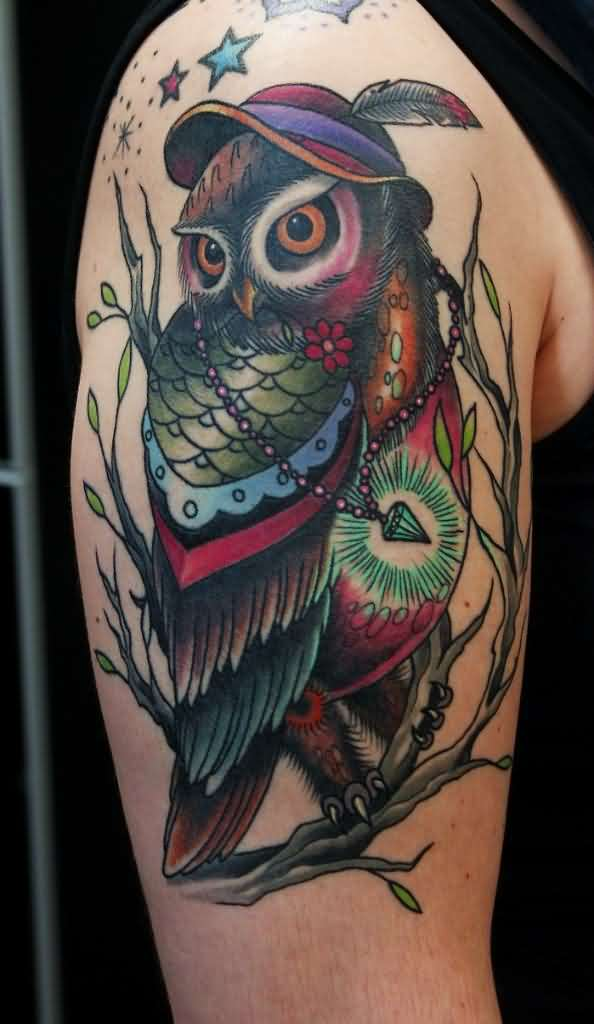 Color Owl Wearing Cap Tattoo On Arm