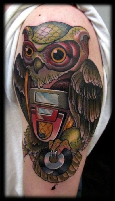 Color Owl With CD Tattoo On Half Sleeve