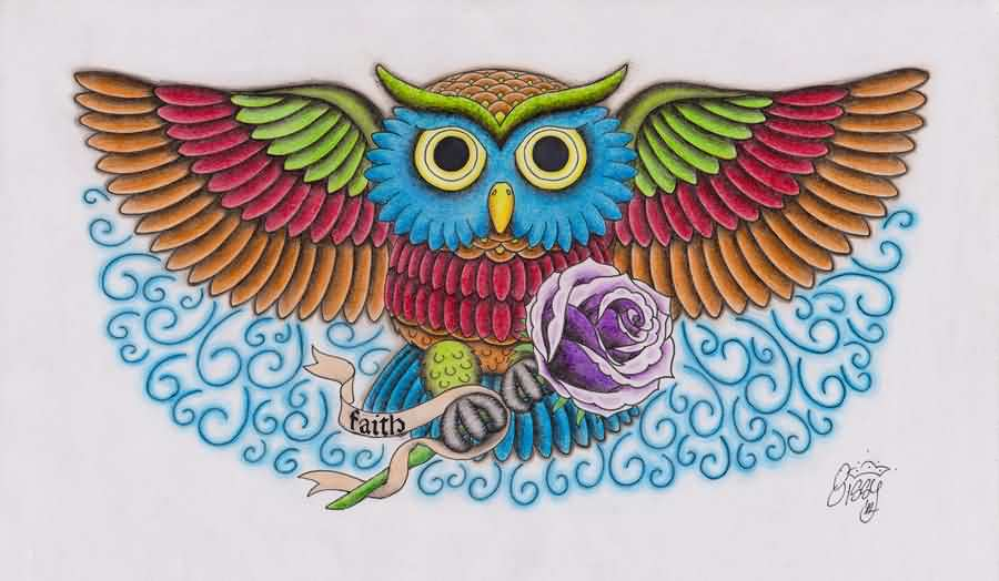 Color Owl With Purple Rose Tattoo Design