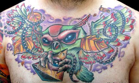 Color Owl With Triangle Eye Tattoo On Chest
