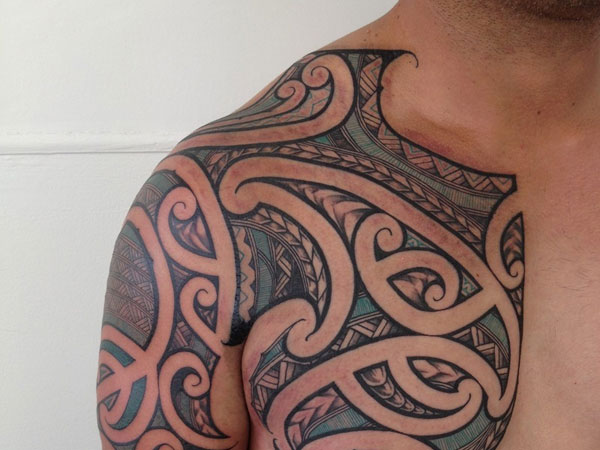 Color Polynesian Tribal Tattoo On Chest