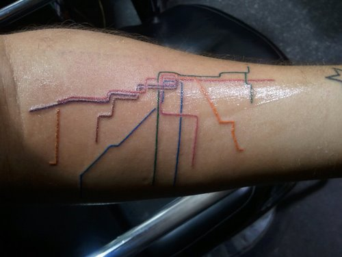 Color Rail Map Tattoo On Arm