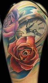 Color Rose And Clock Tattoos On Shoulder