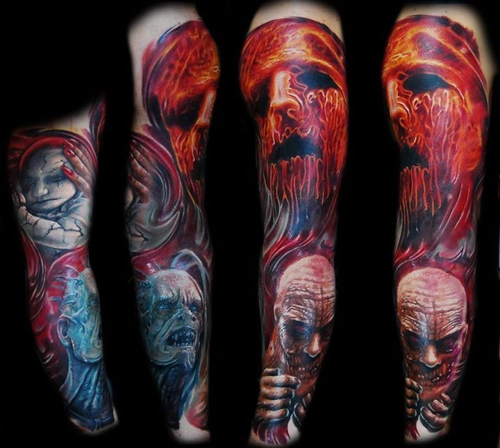 Color Scary 3D Tattoos On Sleeve